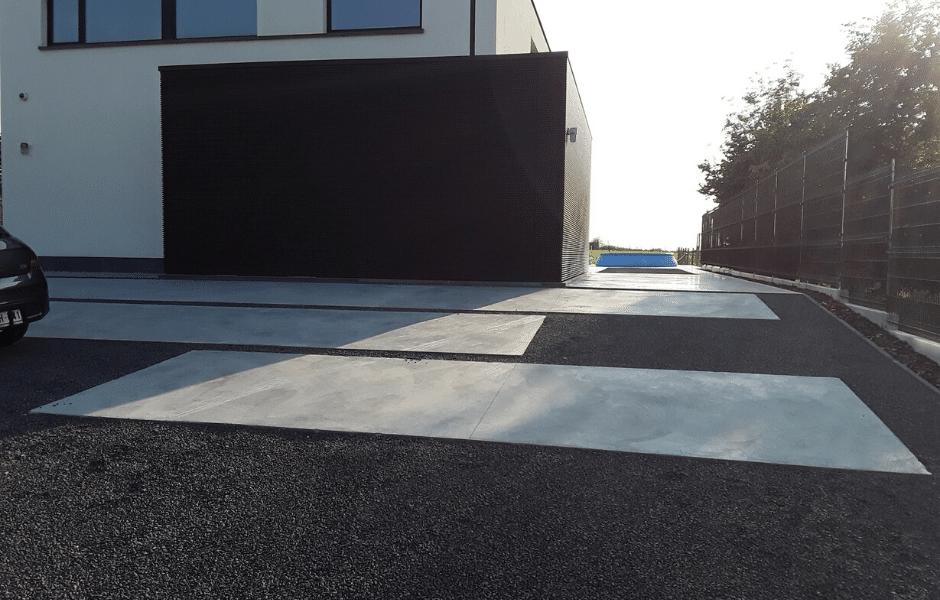 oprit en tuinpaden in gepolierde beton modern